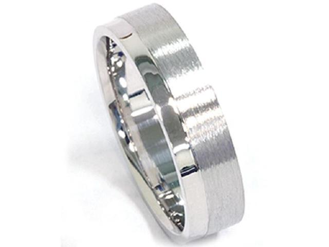 Mens 6mm Brushed Flat Comfort Fit Wedding Band Ring