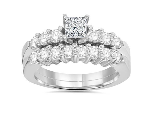 Princess Cut Diamond Engagement Ring Set 1 1/4ct Matching Wedding Bands 14k Gold