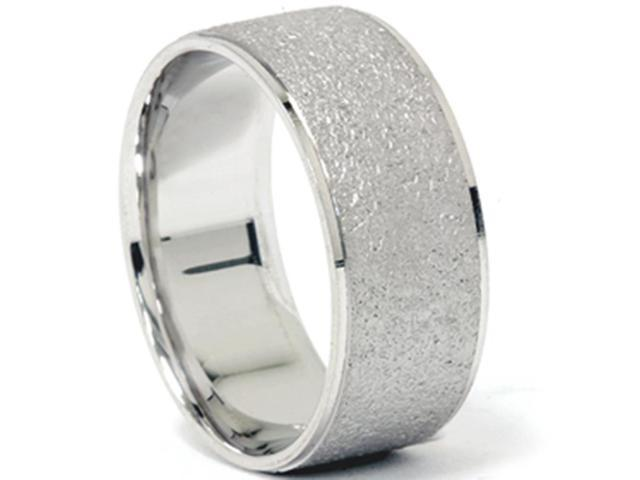 Stone Finish Wedding Ring 8mm 14K White Gold
