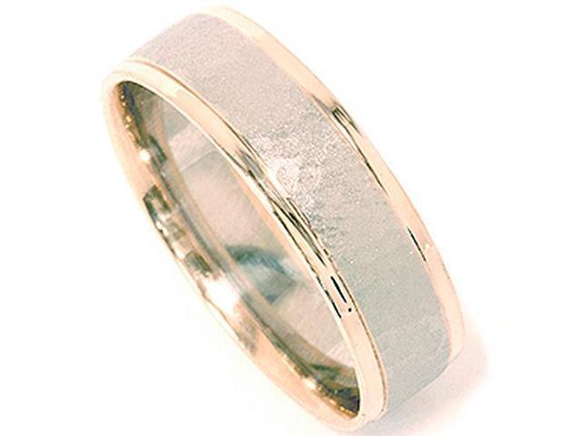 Mens 14K Gold 2 Tone Hammered Wedding Ring Band