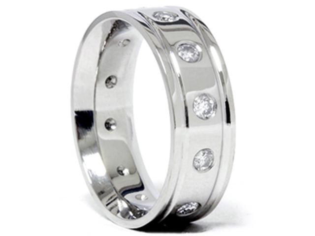 Mens 950 Palladium 3/4ct Diamond Comfort Fit Ring Band