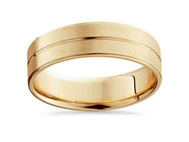 Mens 14k Gold Flat 6mm Brushed Comfort Fit Wedding Band