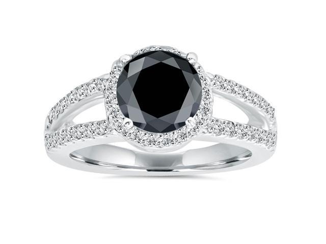 2ct Halo Split Shank Treated Black Diamond Ring 14K White Gold