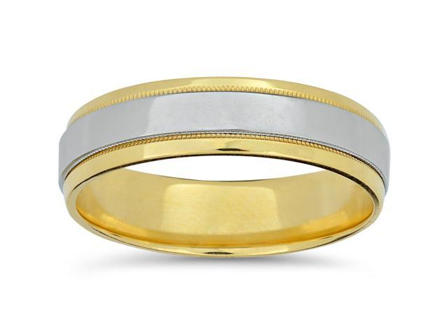 Mens Platinum & 18k Yellow Gold Two Tone Wedding Band High Polished Ring