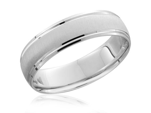 Mens 6mm 14K White Gold Comfort Fit Wedding Band Brushed Ring