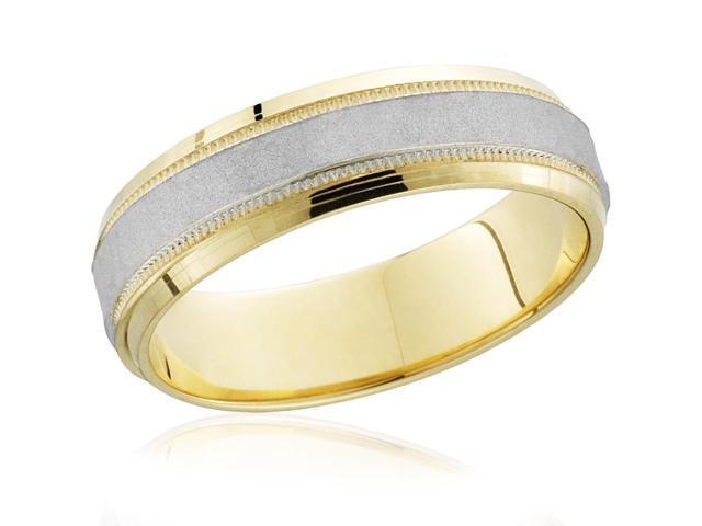 18k Yellow Gold & 950 Platinum Brushed Two Tone Wedding Band Mens Ring