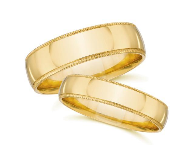 Yellow Gold Matching Wedding Bands Mens Womens Plain Polished 14k Milgrain Rings