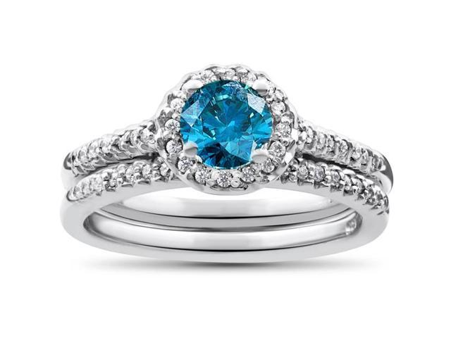Blue Diamond Halo Engagement Ring 3/4ct Matching Wedding Ring White Gold Treated