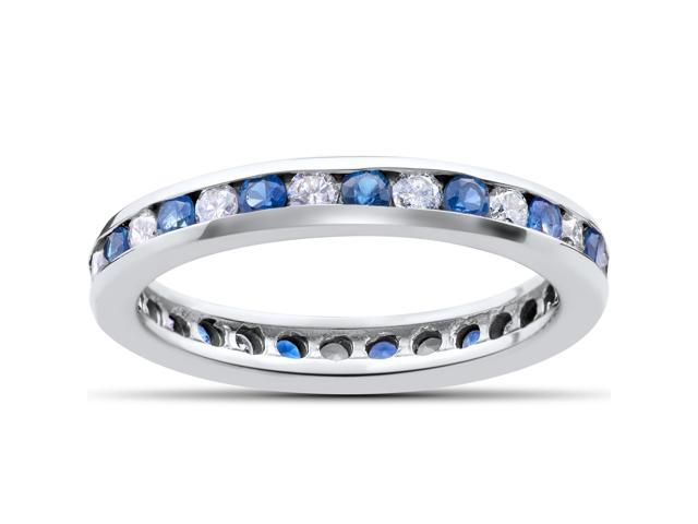 1 1/2 ct Diamond & Sapphire Eternity Ring 14K White Gold Womens Channel Set Band