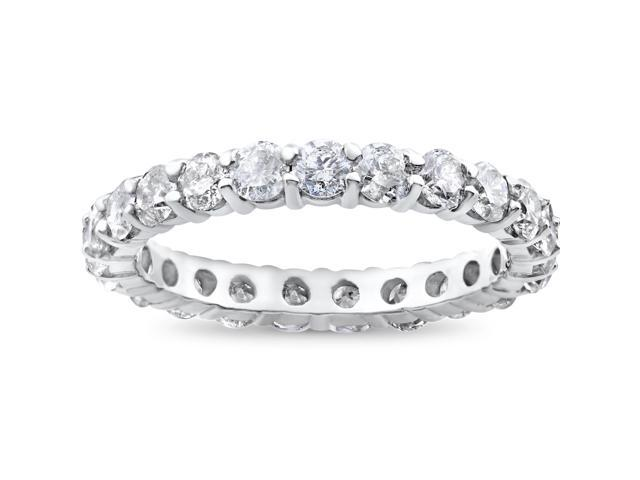 2ct Diamond Eternity Wedding Ring Womens Stackable Solitaire Band 14K White Gold