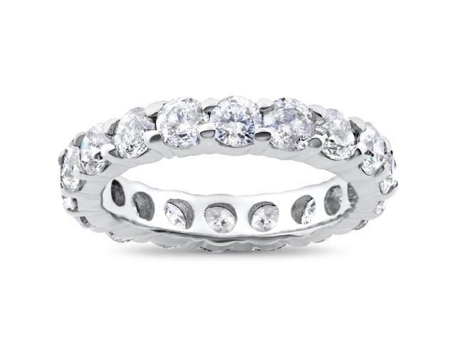 3ct Real Diamond Eternity Wedding Ring 14K White Gold Stackable Womens Band