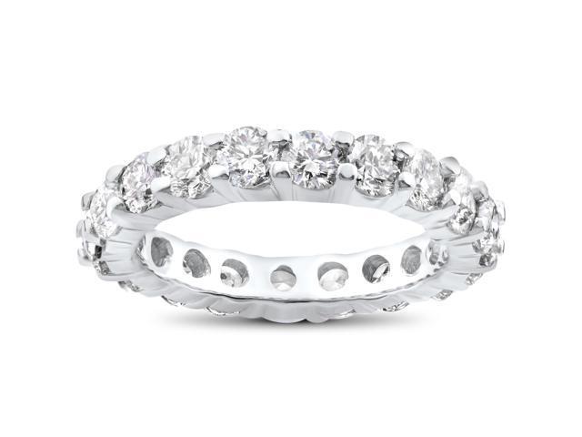 4ct Diamond Eternity Wedding Ring 14K White Gold Womens Anniversary Band