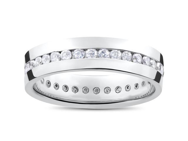 Mens 1 1/10ct Round Diamond Channel Set Eternity Ring Wedding Band Anniversary