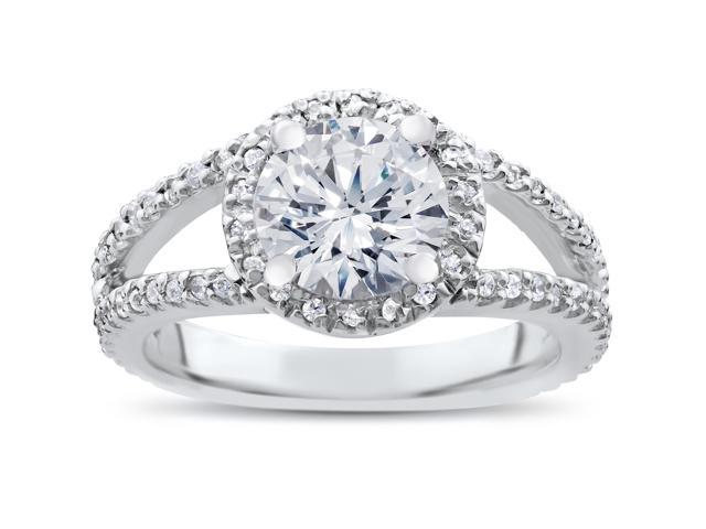 G SI 2ct Round Diamond Halo Engagement Ring Split Shank Solitaire 14K White Gold