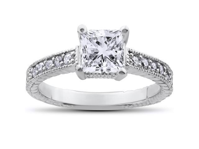 1 1/4ct Princess Cut Vintage Diamond Engagement Ring 14K White Gold Enhanced