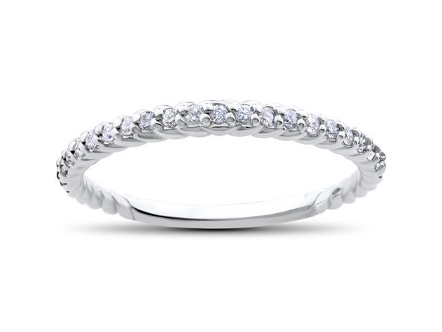 Stackable Diamond Wedding Ring 1/4ct Braided Anniversary Band 14K White Gold