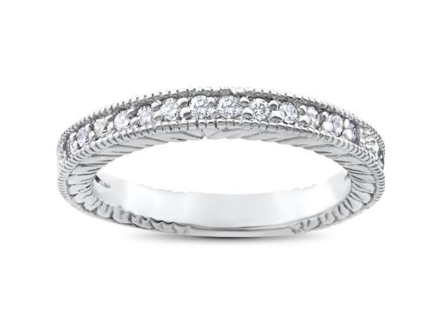 1/5ct Heirloom Diamond Vintage Wedding Ring 14K White Gold Womens Antique Band