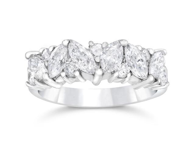 1 1/2ct Fancy Marquise Diamond Wedding Ring Womens Stackable Band 14k White Gold