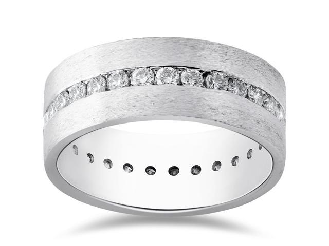 Mens 1 1/2ct Diamond Satin Eternity Comfort Fit Brushed Wedding Band