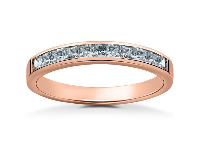 1/2ct Princess Cut Diamond Wedding Ring 14K Rose Gold Channel Set