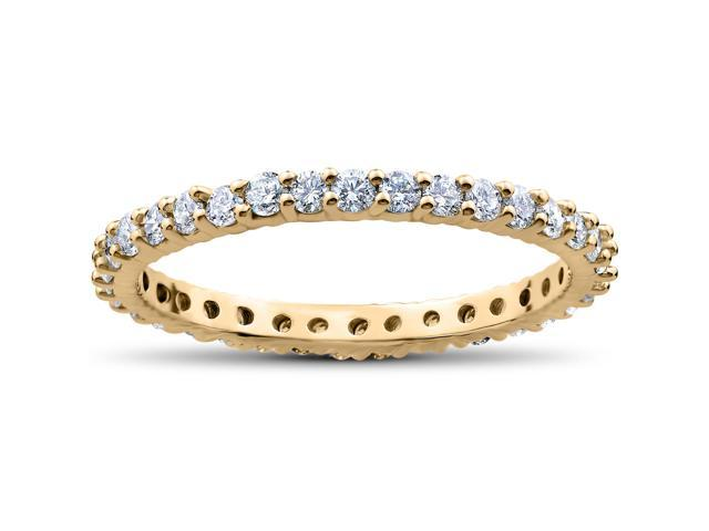 1 ct Diamond Eternity Ring Womens Stackable Wedding Band 14K Yellow Gold