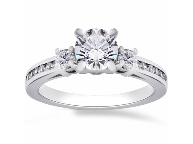 1ct Three Stone Diamond Engagement Anniversay Ring 14K White Gold