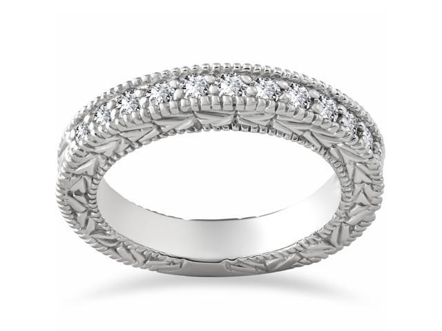 Diamond Wedding Ring 1/4 ct Vintage Hand Engraved Womens Engagement Band 14k WG