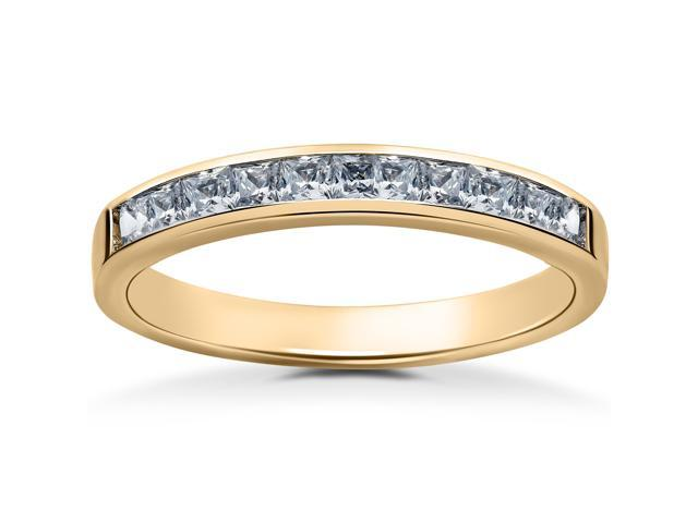 14k Yellow Gold 1/2ct Princess Cut Channel Set Diamond Wedding Ring