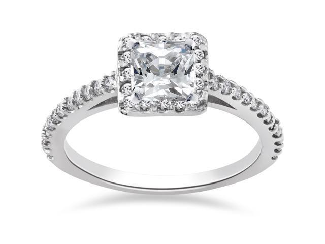 1 ct Princess Cut Halo Genuine Diamond Vintage Engagement Ring 14K White Gold