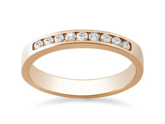 14k Rose Gold 1/4ct Round Diamond Wedding Ring Womens Channel Set Band