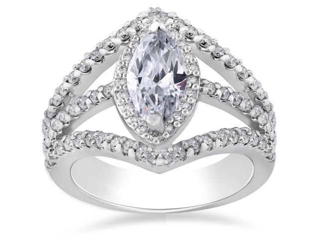 Marquise Diamond Engagement Ring 2.00ct Halo Unique 14K White Gold Enhanced