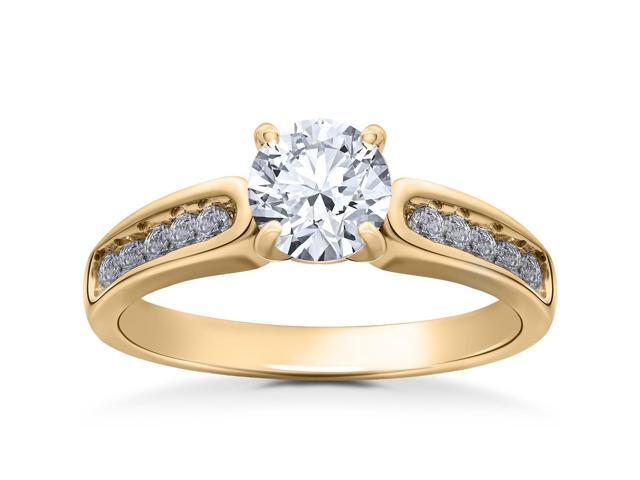 14k Yellow Gold Diamond Engagement Ring 1 1/2 Carat Clarity Enhanced Channel Set