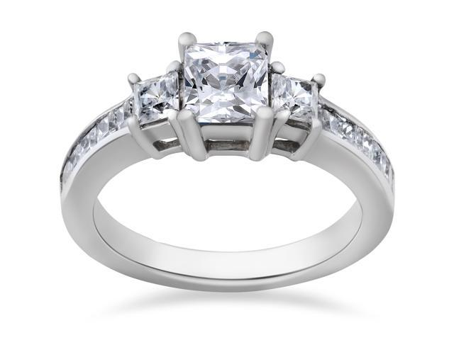 2 ct Princess Cut Diamond 3-Stone Engagement Ring 14K White Gold