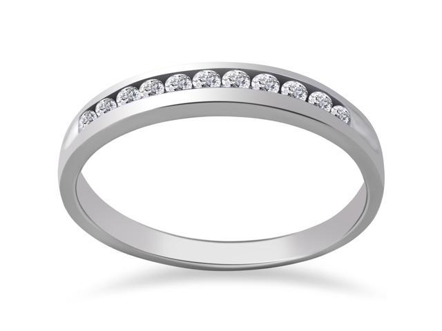 1/4ct Diamond 14k White Gold Wedding Anniversary Ring Womens Channel Set Band