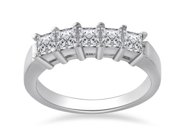 1ct Princess Cut Diamond Wedding Anniversary Ring 14k White Gold 5-Stone