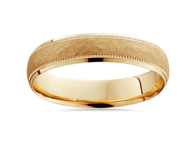 Mens 5mm Hammered  Wedding Band Solid 14K Yellow Gold