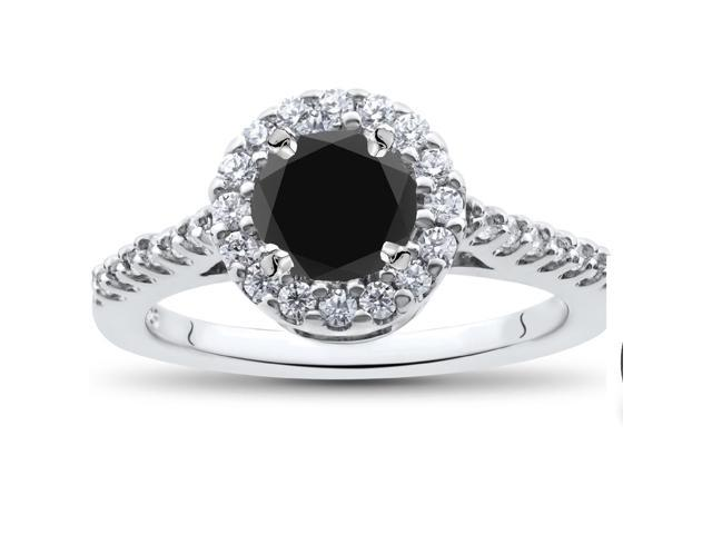 1 1/2ct Treated Black Diamond Engagement Ring 14K White Gold