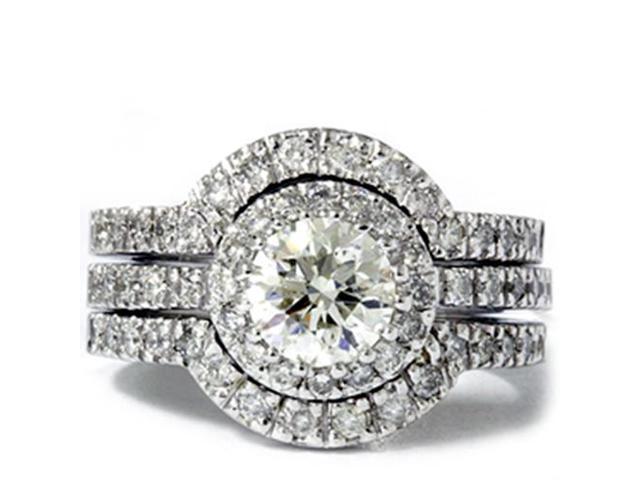 2ct Round Enhanced Diamond Engagement Halo Wedding Ring Trio Set 14K White Gold