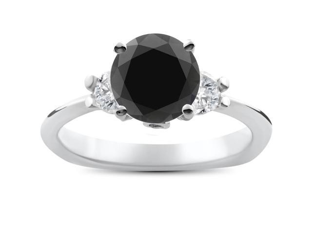 1 3/8ct Treated Black Diamond Three Stone Engagement Anniversary Ring 14K