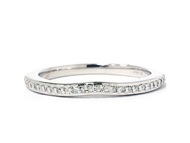 1/6 ct 14 K White Gold Diamond Wedding Anniversary Guard Contour Notched Ring