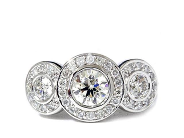 2 Carat 3 Stone Halo Enhanced Diamond Engagement Round Cut 14K White Gold