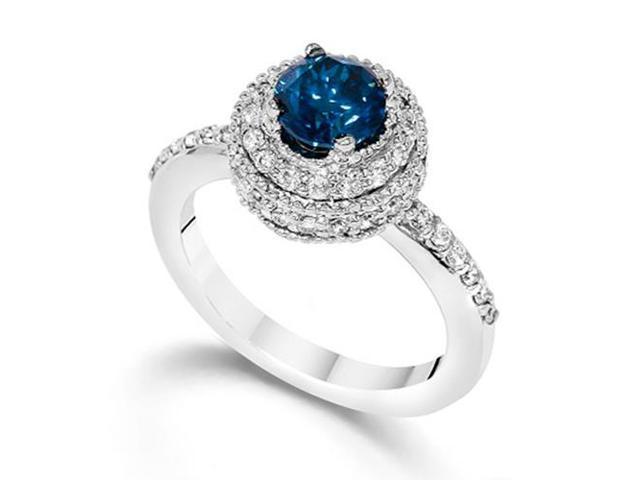 1 Carat Treated Blue Diamond Engagement Ring Vintage Antique 14K White Gold