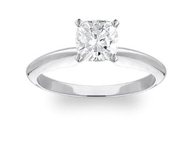 1 Carat Cushion Diamond Solitaire Engagement Ring 14K White Gold