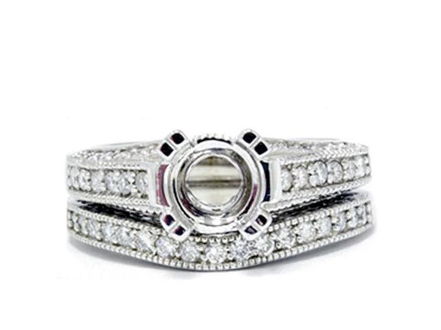 1/2 ct Diamond Engagement Ring Setting Semi Mount & Matching Wedding Band 14k WG