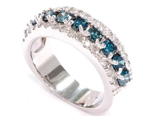 1 1/2ct Treated Blue & White Diamond Wide Womens Wedding Anniversary Ring 14k