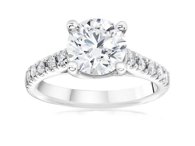 1 3/4 ct Solitaire Diamond (1 1/2ct center) Engagement Ring White Gold Enhanced