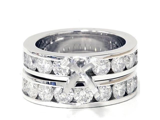 3ct Diamond Engagement Semi Mount Wedding Ring Set 14K White Gold
