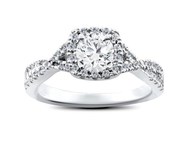 1ct Cushion Halo Solitaire Round Diamond Engagement Ring 14K White Gold