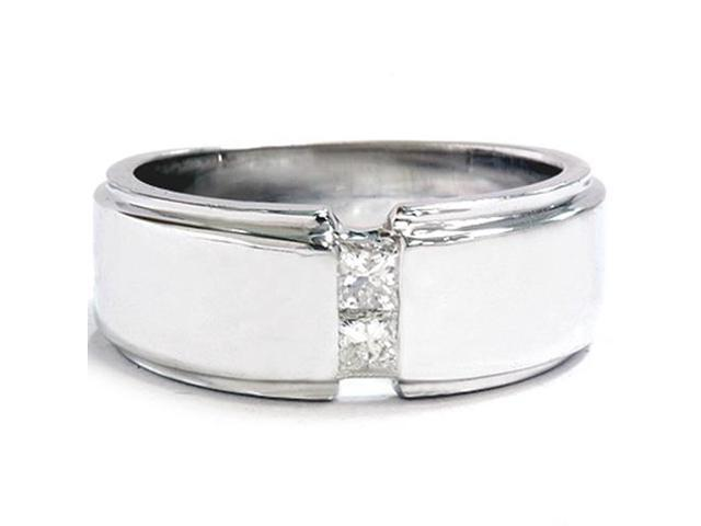 Mens 14K White Gold Princess Cut Diamond Wedding Ring