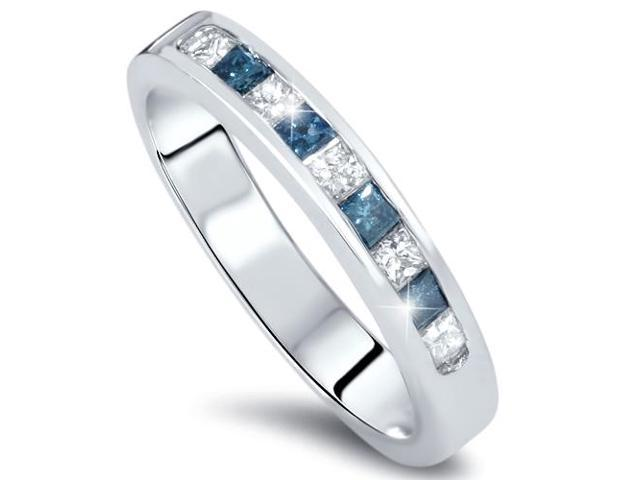 1/2ct Princess Cut Blue Diamond Wedding Ring